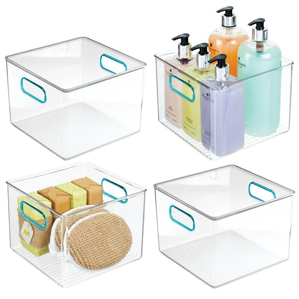 Plastic Bathroom Vanity Storage Bin - 8 x 8 x 6, Set of 4, by mDesign