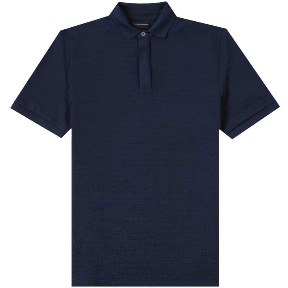 Emporio Armani Textured Polo Shirt Navy Colour: NAVY, Size: EXTRA EXTRA LARGE