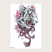 1sheet Floral Tiger Pattern Tattoo Sticker