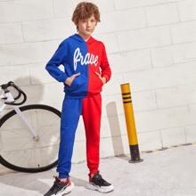 Sweatshirt mit Buchstaben Grafik, Farbblock & Jogginghose Set
