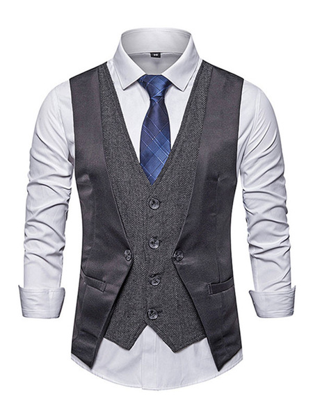 Milanoo Men\'s Dress Vests Street Wear Chic V-Neck Black