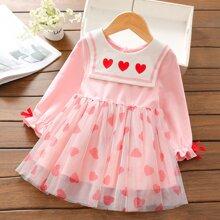 Kleid mit Herzen Muster und Exerzier Kragen