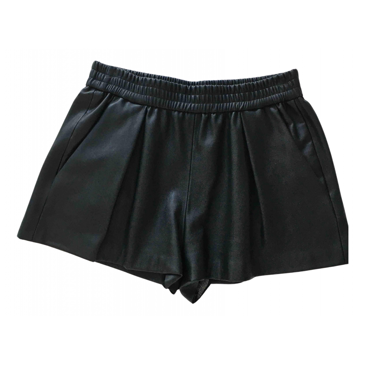 Zara \N Shorts in  Schwarz Leder