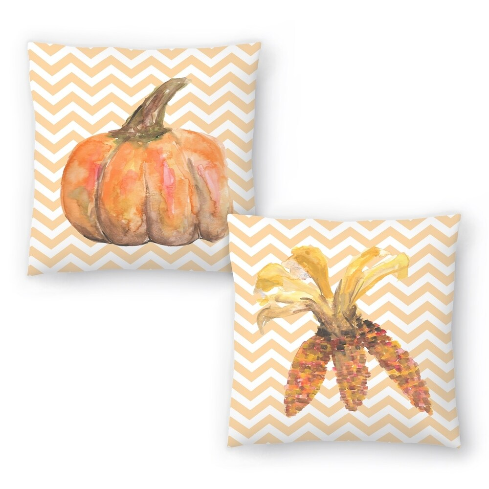 Chevron Pumpkin Autumn Print and Chevron Corn Autumn Print Set of 2 Decorative Pillows (18x18)