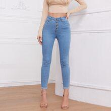 Schmale Jeans mit Knopfen
