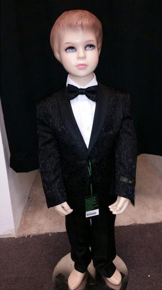 Kids Children Boys Black Tuxedo Paisley Two toned