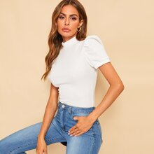 Mock-neck Puff Sleeve Solid Top