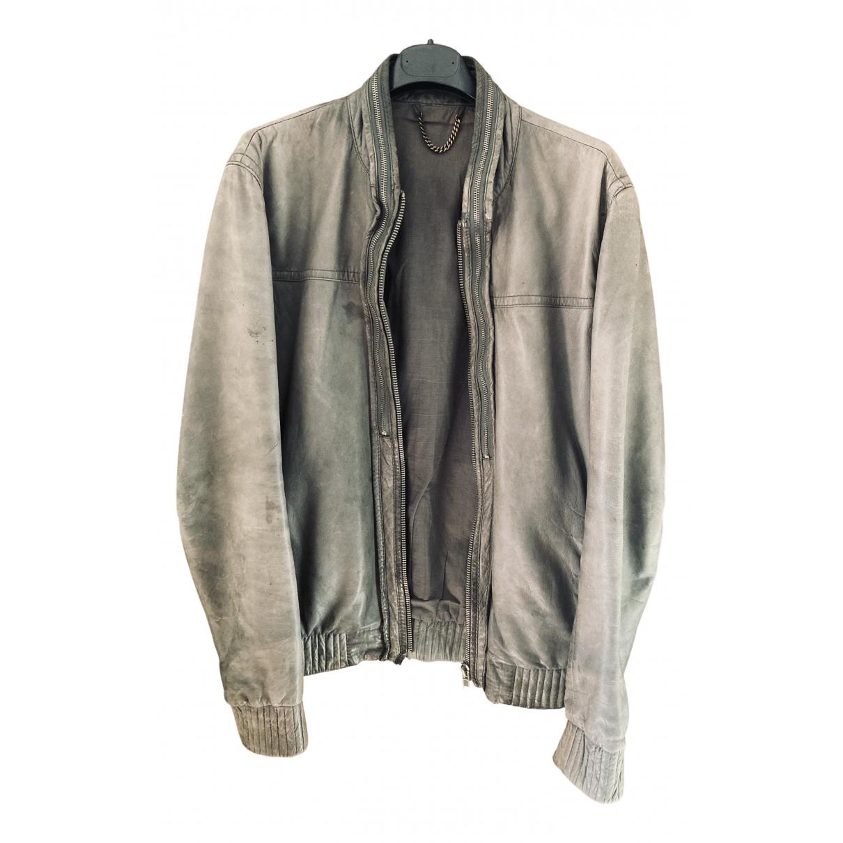 All Saints N Green Leather jacket  for Men M International
