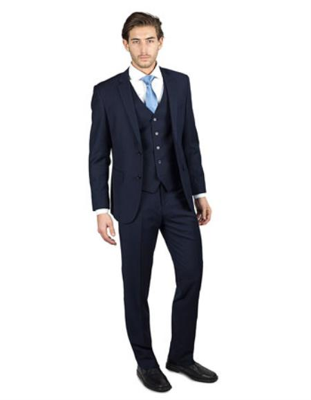 Mens Navy BlueShark Skin 2 Button Three Piece TR Blend Suit