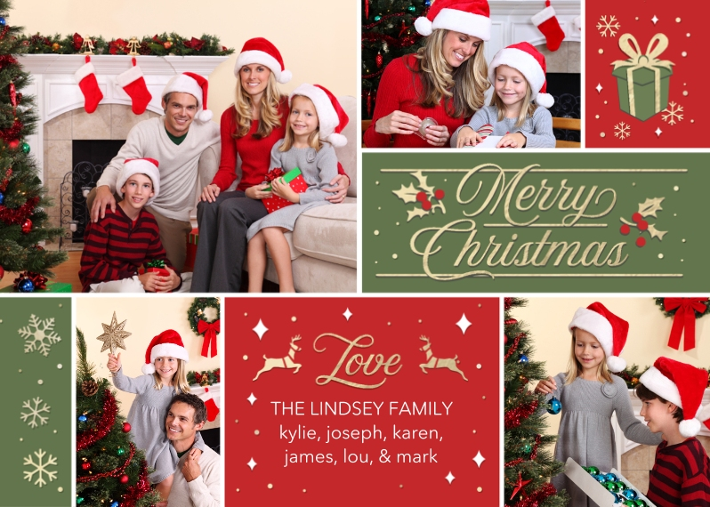 Christmas Photo Cards 5x7 Folded Cards, Standard Cardstock 85lb, Card & Stationery -Family Christmas