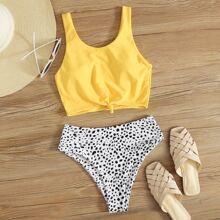 Dalmatian Knot High Waisted Bikini Swimsuit