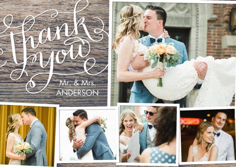 Wedding Thank You 5x7 Cards, Premium Cardstock 120lb with Elegant Corners, Card & Stationery -Thank You Swirls