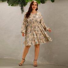 Plus Floral Print Flounce Hem Dress