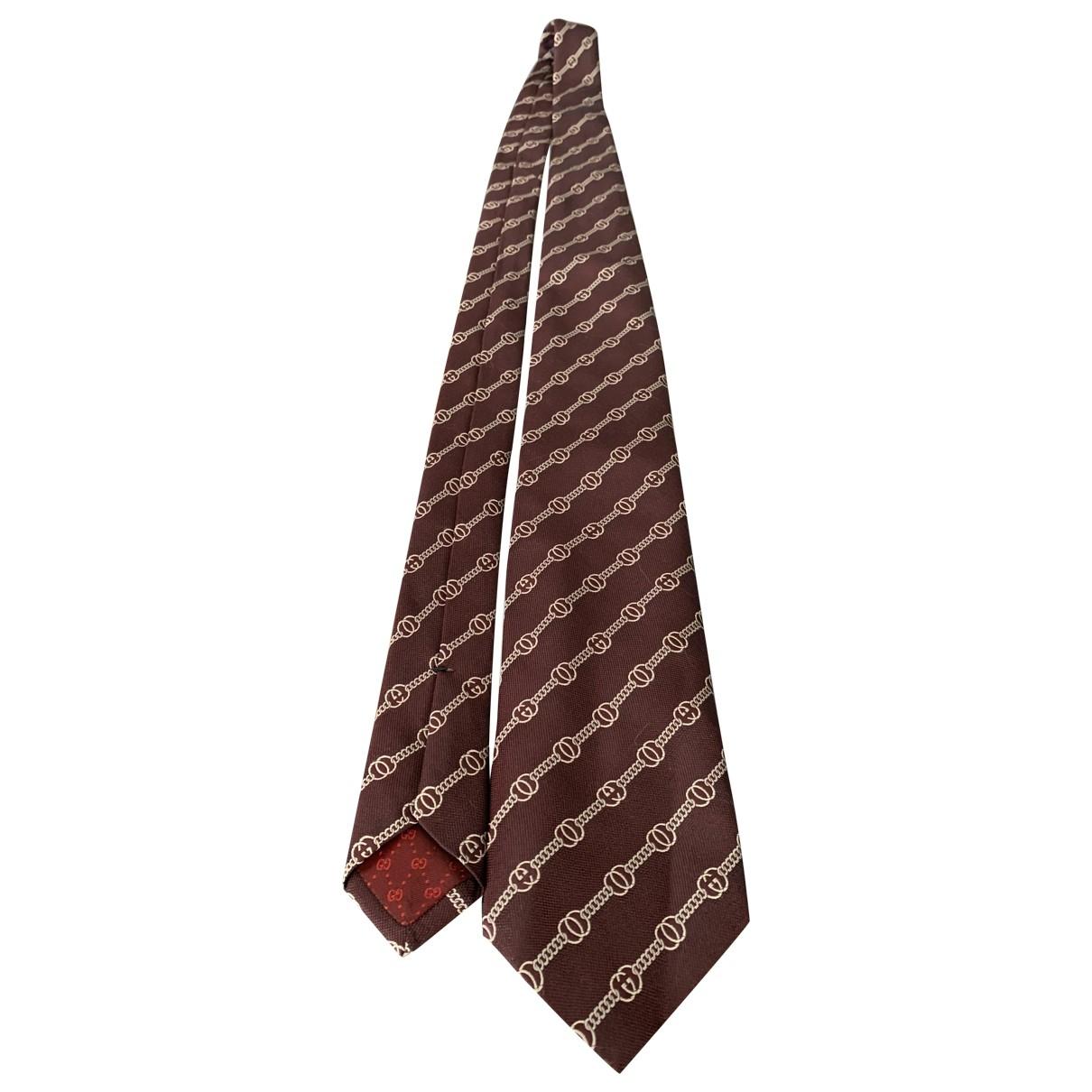 Gucci \N Krawatten in  Braun Seide
