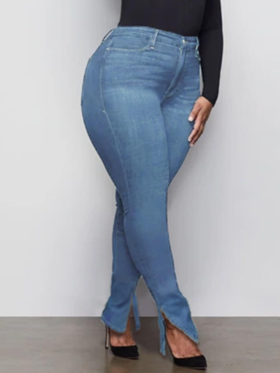 LW Lovely Casual High-waisted Side Slit Blue Jeans