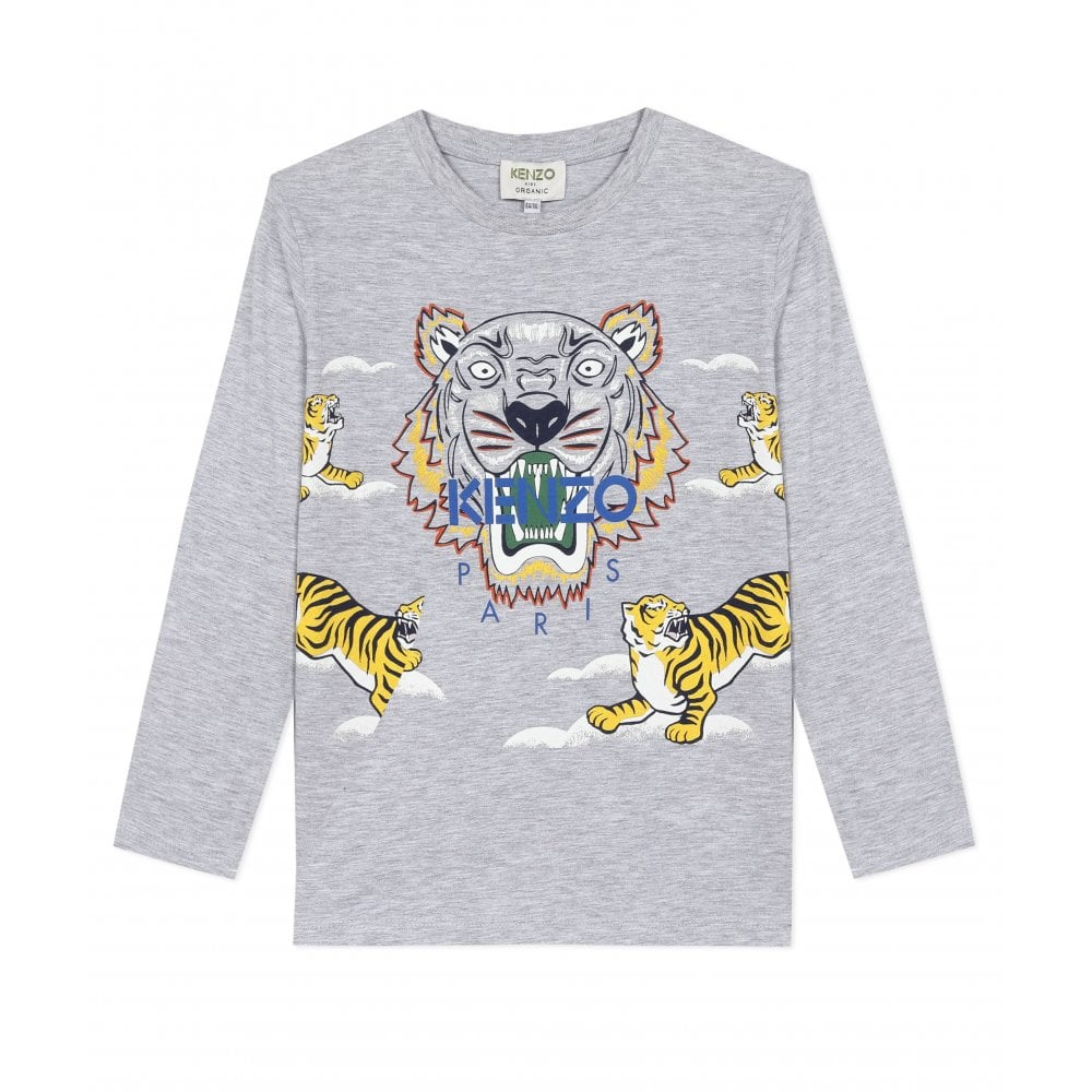 Kenzo Ls Tiger T-shirt Colour: GREY, Size: 8 YEARS