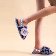 Flower Appliques Slingback Fluffy Sandals