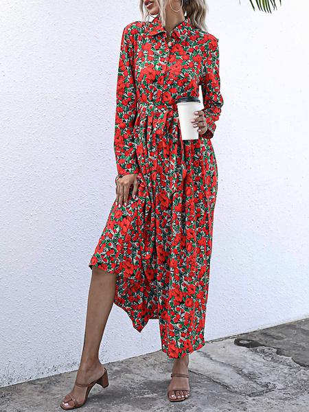 Milanoo Women Maxi Dresses Yellow Turndown Collar Long Sleeve Printed Split Shirt Dress