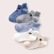 5 Paare Baby Socken mit Karikatur Stickereien