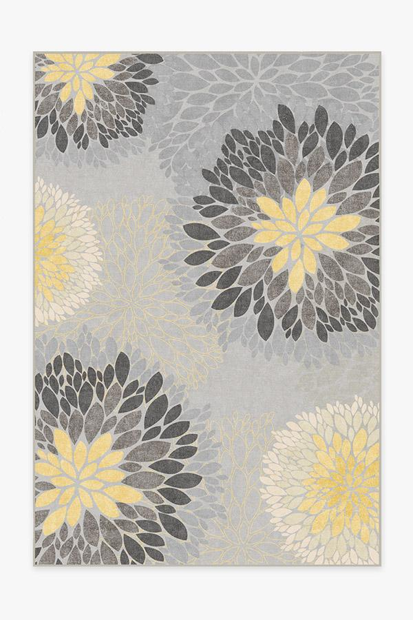 Washable Rug Cover | Floral Medallion Yellow Grey Rug | Stain-Resistant | Ruggable | 6'x9'