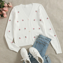 Floral Embroidery Button Up Cardigan