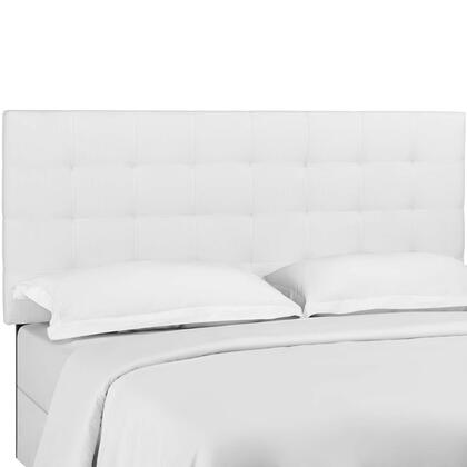 Paisley Collection MOD-5855-WHI Tufted King and California King Upholstered Linen Fabric Headboard in White