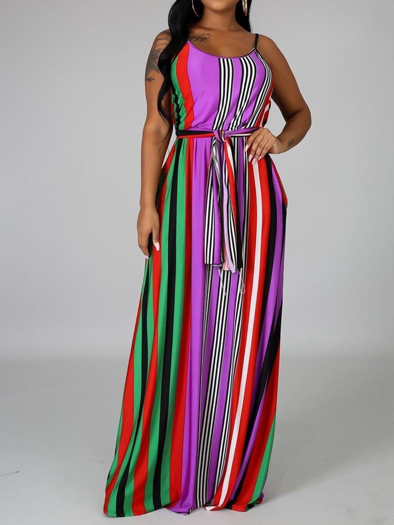 Ericdress Floor-Length Print Sleeveless Travel Look Dress