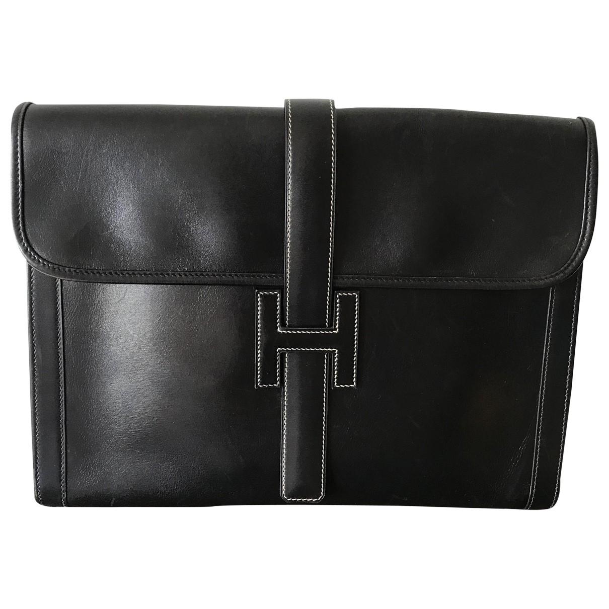 Hermès Jige Black Leather Clutch bag for Women \N