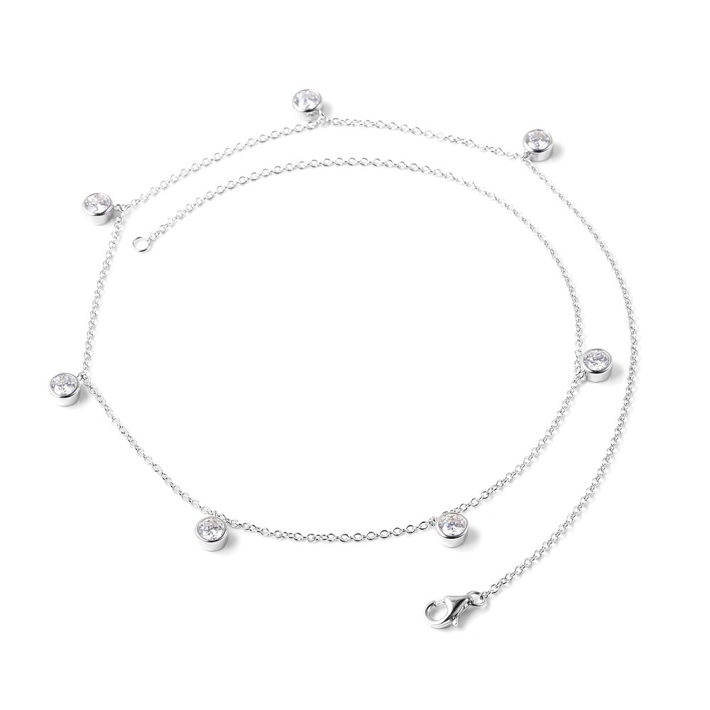 925 Sterling Silver Moissanite Necklace Size 18 Inch Ct 2.3 (White)