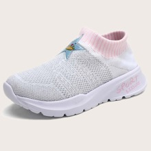Girls Star Patch Sock Sneakers