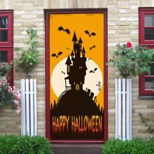 Halloween Castle Print Door Sticker