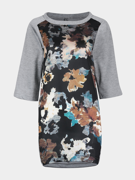 Yoins Floral Print Dress with 3/4 Sleeve