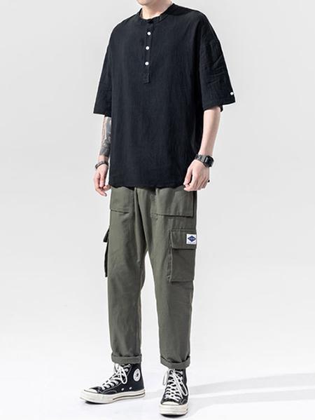 Yoins Men Summer Casual Cotton Soft  Plain Button Front T-Shirt