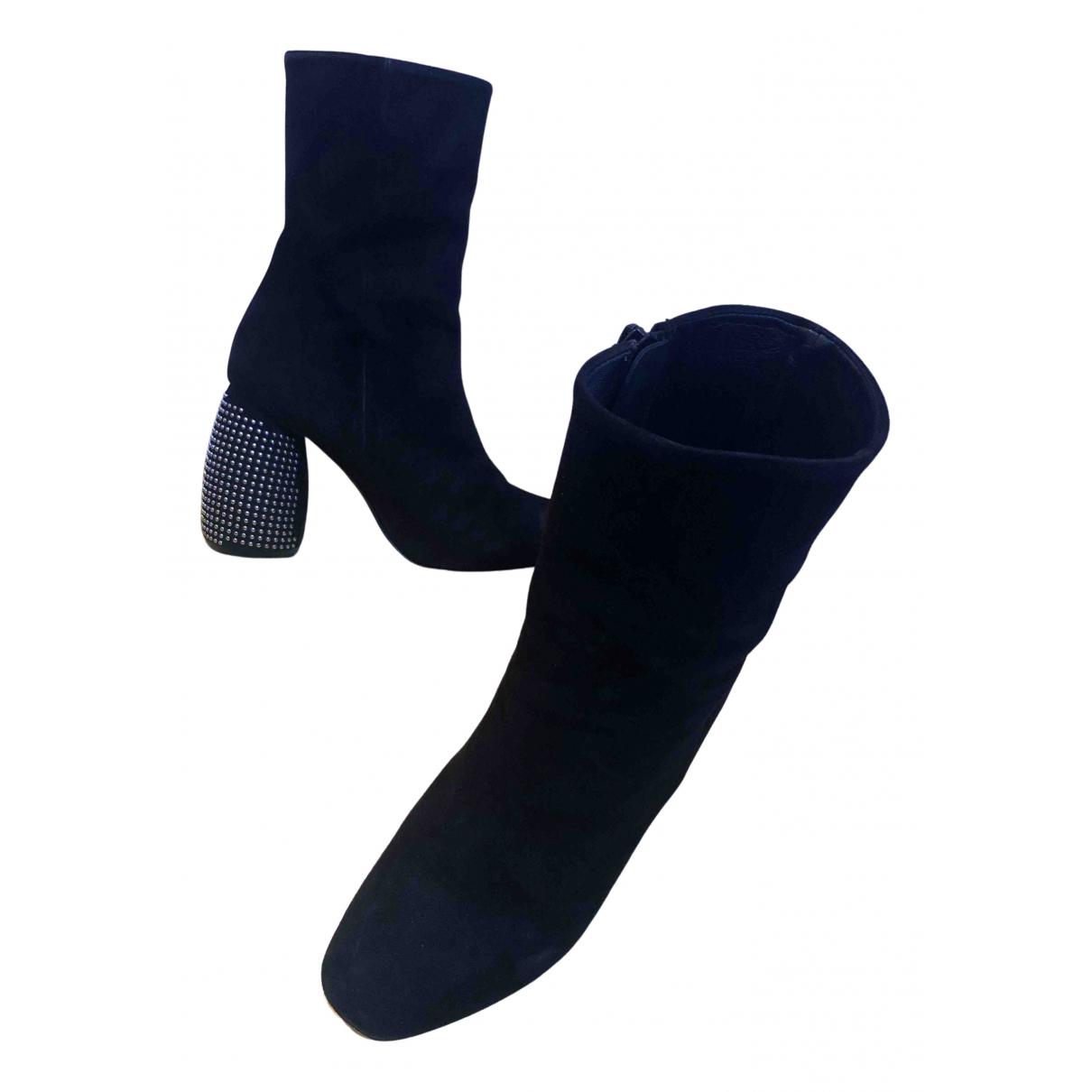 Non Signé / Unsigned N Black Suede Ankle boots for Women 36 IT