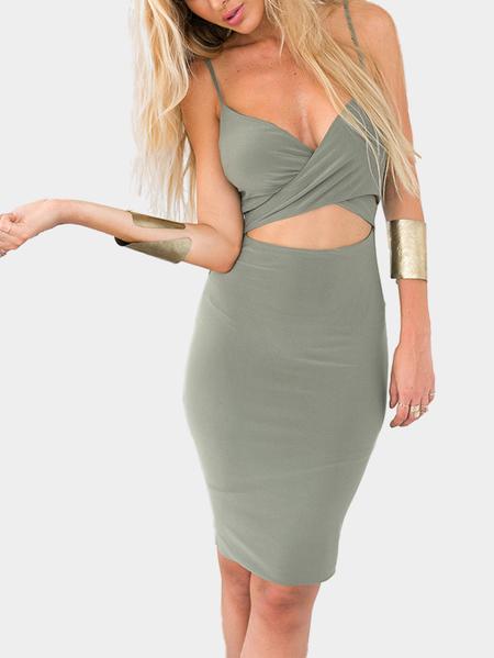 Yoins Wrap Front Sleeveless V-neck Mini Dress