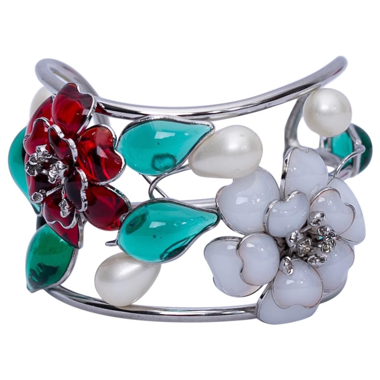 - Bracelet Motifs Floraux pour femme en verre - argente