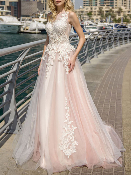 Milanoo wedding dresses 2020 a line illusion neck lace applique soft pink tulle bridal gown with court train