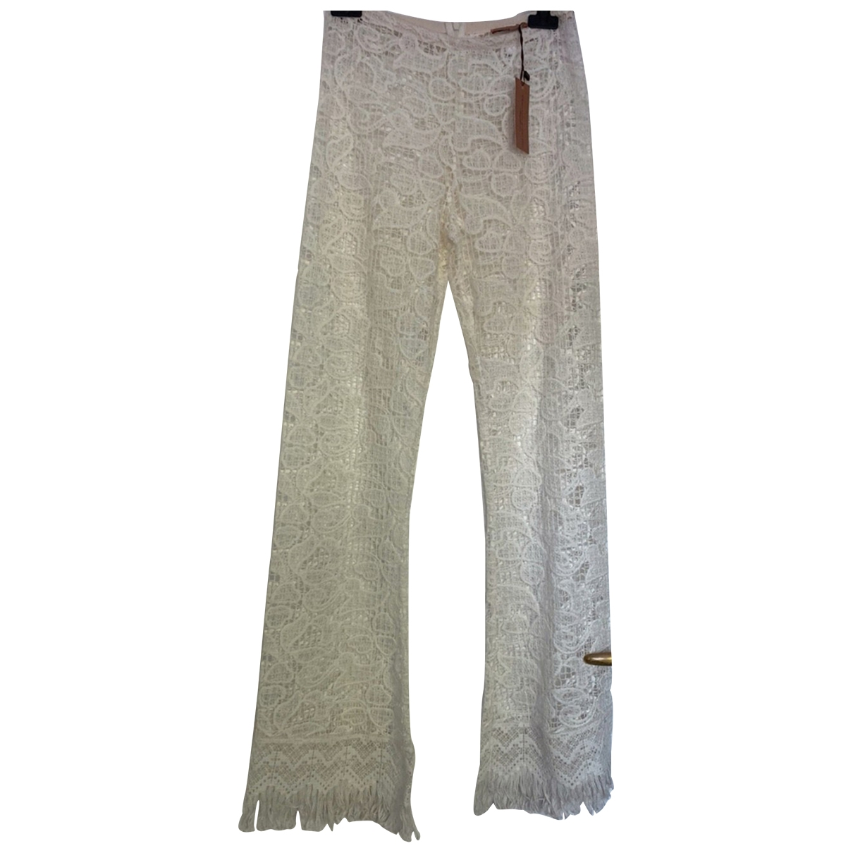 Ermanno Scervino \N Beige Cotton Trousers for Women 40 IT