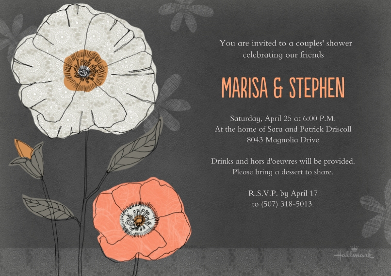 Party Invitations 5x7 Cards, Standard Cardstock 85lb, Card & Stationery -Peach and Gray Floral