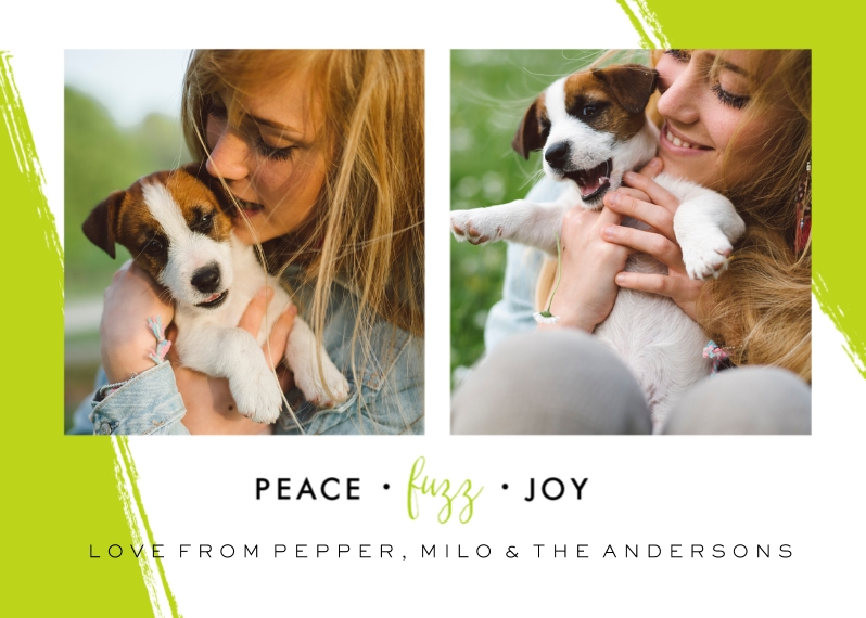 Pets 5x7 Cards, Standard Cardstock 85lb, Card & Stationery -Peace Fuzz & Joy