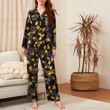 Allover Floral Lapel Neck Pajama Set