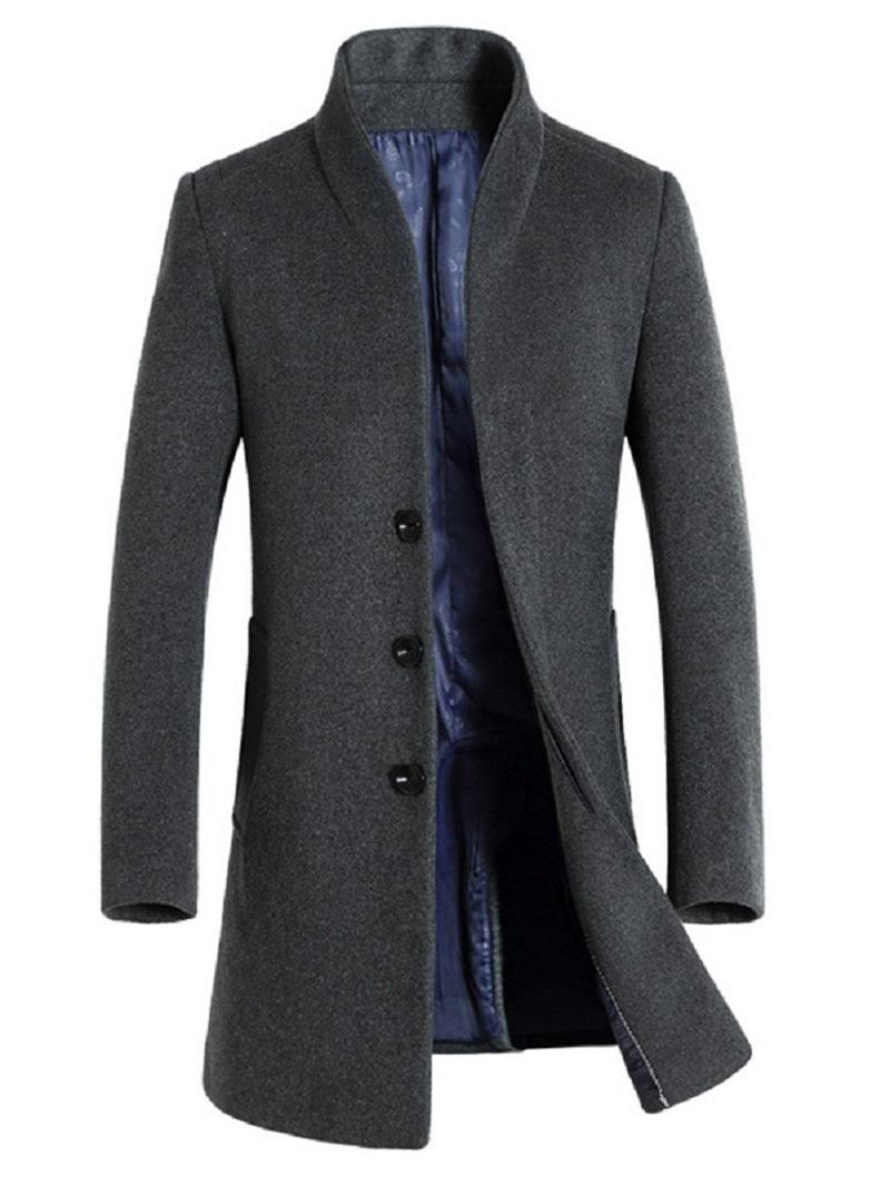 Ericdress Stand Collar Slim Mid-Length Men's Wool Coat