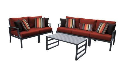 Lexington LEXINGTON-06m-TERRACOTTA 6-Piece Aluminum Patio Set 06m with 2 Left Arm Chairs  2 Right Arm Chairs  1 Armless Chair and 1 Coffee Table -