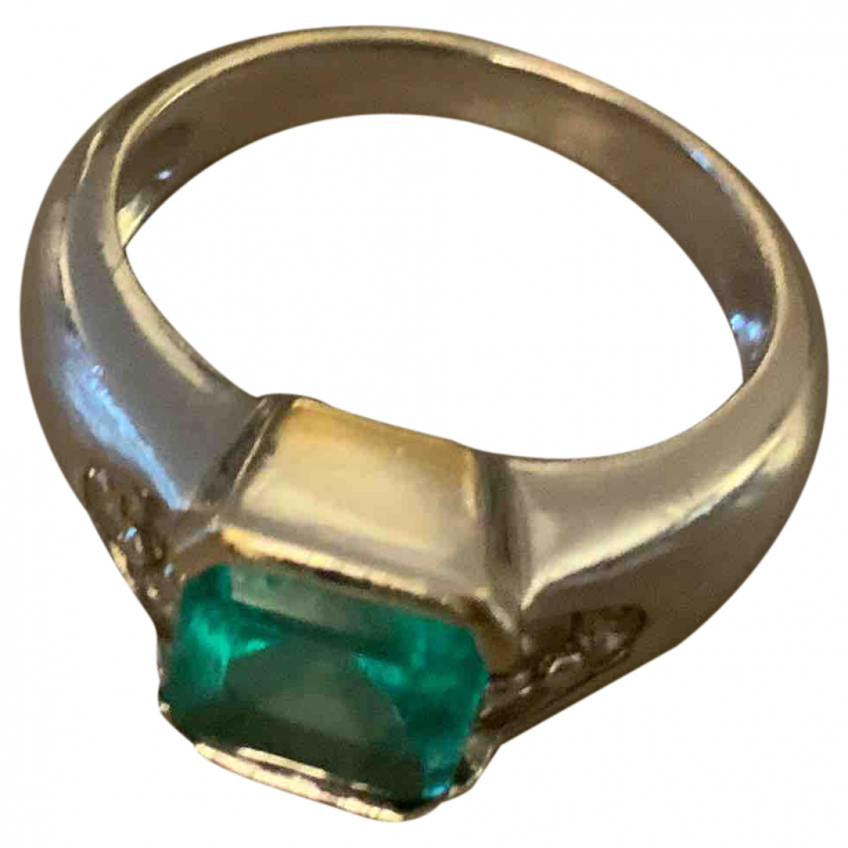 Non Signe / Unsigned Emeraude Ring in  Silber Weissgold
