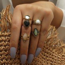 5pcs Heart Decor Ring
