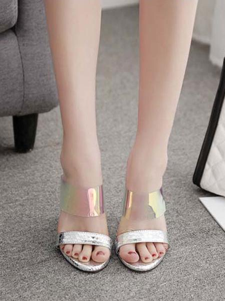 Milanoo Zapatillas sandalias Plata PU Cuero Punta abierta Bloque de color Sandalias Diapositivas Zapatillas transparentes elegantes