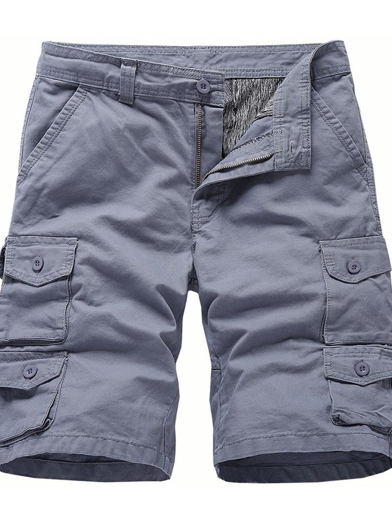Ericdress Loose Plain Pocket Casual Mid Waist Shorts