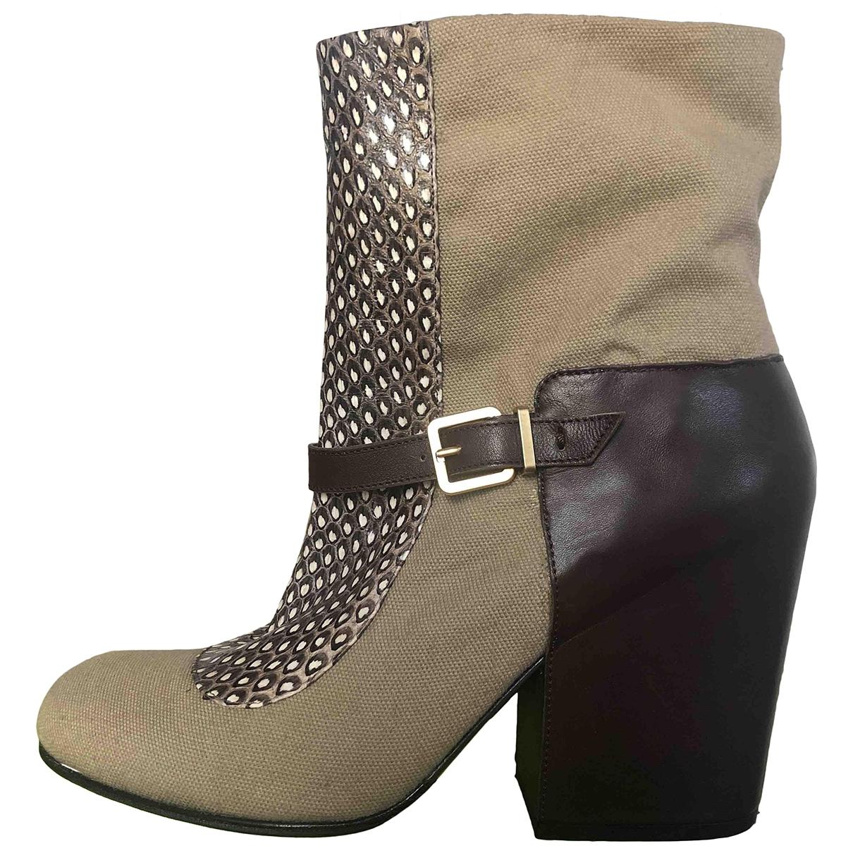 Robert Clergerie - Boots   pour femme en python - beige