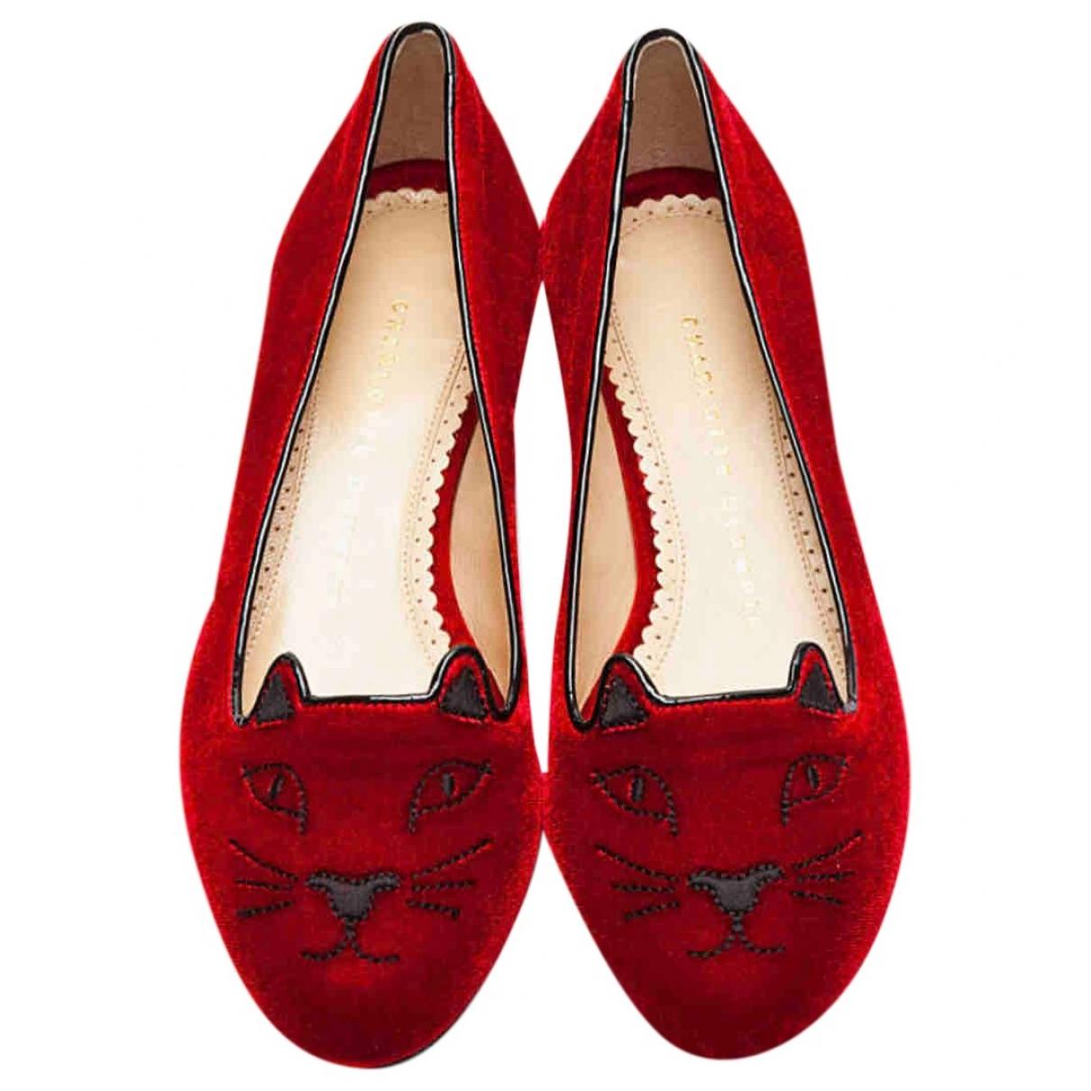 Charlotte Olympia - Ballerines Kitty pour femme en velours - rouge