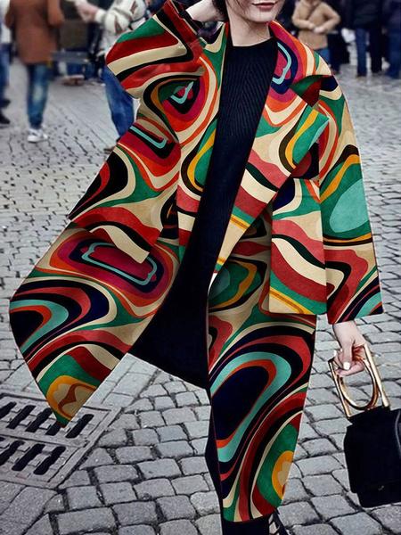 Milanoo Abrigo para mujer Oragnge Rojo Cuello vuelto Manga larga Abrigo de lana informal estampado